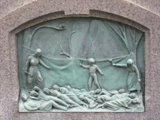 A relief on the Statue of Hannah Duston recreates the scene of the scalping
