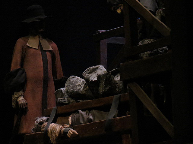Pressed to death, Giles Corey depicted at the Salem Witch Museum by Christa Thompson